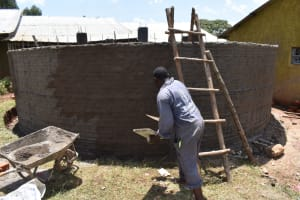 The Water Project: Itieng'ere Primary School -  Outside Plastering