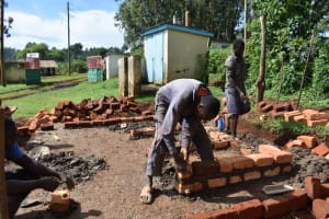 The Water Project: Itieng'ere Primary School -  Latrine Brick Work