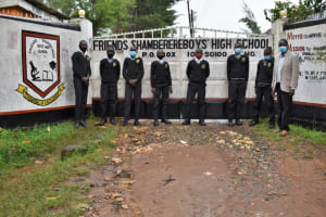 The Water Project: Shamberere Boys' High School -  Students And A Teacher Pose At The Entrance