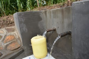 The Water Project: Ematetie Community, Amasetse Spring -  Clean Water Flowing