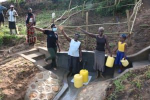 The Water Project: Ikoli Community, Odongo Spring -  Cheers And Thanks At The Handing Over Celebration
