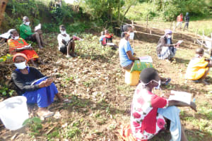 The Water Project: Ikoli Community, Odongo Spring -  Distancing And Masking Were Adhered To