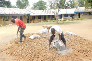 The Water Project: St. Benedict Emutetemo Primary School -  Mixing Construction Materials
