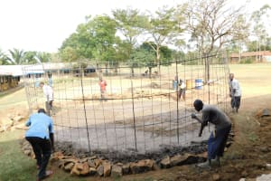 The Water Project: St. Benedict Emutetemo Primary School -  Placing Of Wire Tank Frame
