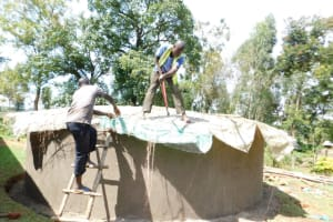 The Water Project: Emachina Primary School -  Construction Of Rain Water Harvesting Tank