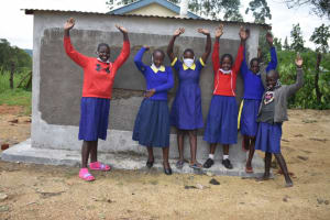The Water Project: Emachina Primary School -  Girls At V I P Latrine