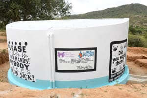 The Water Project: Ndithi Primary School -  Painted Tank