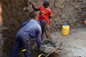 The Water Project: Mukuku Mixed Secondary School -  Inside The Tank Finishing The Walls