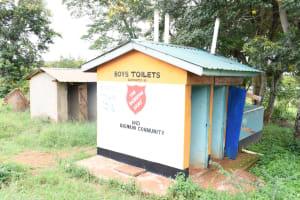 The Water Project: Migwani DEB Primary School Rain Tank -  Boys Latrines