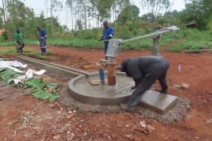 The Water Project: Marongo-Kahembe Community -  Constructing The Well Apron