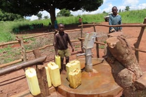 The Water Project: Rwenziramire Community -  Filling Up At The Rehabilitated Well