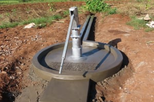 The Water Project: Rwenziramire Community -  Well Cement Dries