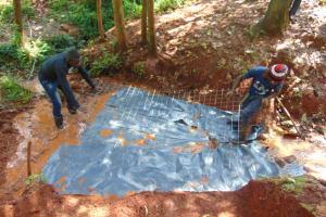 The Water Project: Shikoye Community, Kwa Witinga Spring -  Foundation With Wire