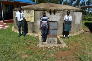 The Water Project: Sawawa Secondary School -  Students And Field Officer At Waterpoint
