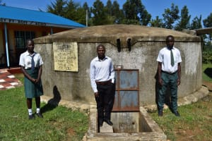 The Water Project: Sawawa Secondary School -  Students And Teacher At Water Point