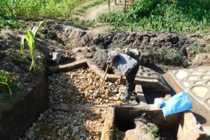 The Water Project: Shianda Community, Akhonya Spring -  Foundation Of The Stairs