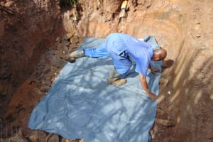 The Water Project: Lukala West Community, Luka Spring -  Plastic Sheeting
