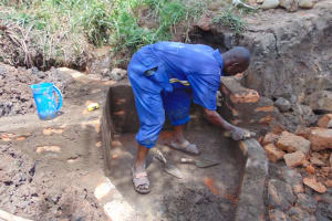 The Water Project: Lukala West Community, Angatia Spring -  Wall Construction