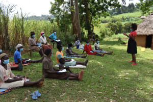 The Water Project: Lukala West Community, Angatia Spring -  Mary Leading The Training