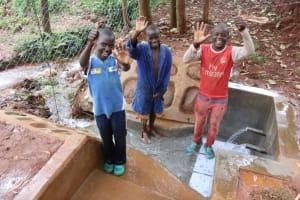 The Water Project: Shikoye Community, Kwa Witinga Spring -  Boys Celebrate At The Spring