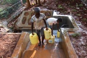 The Water Project: Shikoye Community, Kwa Witinga Spring -  Children Carrying Water Home