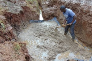 The Water Project: Bumira Community, Savai Spring -  Slab Setting