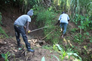 The Water Project: Shibikhwa Community, Musotsi Spring -  Measuring The Site