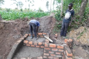 The Water Project: Shikokhwe Community, Mulika Spring -  Contructing The Stairs