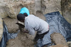 The Water Project: Shikokhwe Community, Mulika Spring -  Foundation Slab Setting