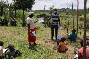 The Water Project: Shikokhwe Community, Mulika Spring -  A Community Member Participates