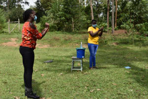 The Water Project: Mwera Community, Mukunga Spring -  Handwashing Demonstration