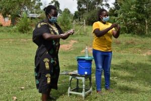 The Water Project: Mwera Community, Mukunga Spring -  Practicing Ten Steps Handwashing