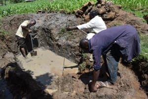 The Water Project: Sundulo B Community, Luvisia Spring -  Foundation Measurements
