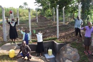 The Water Project: Sundulo B Community, Luvisia Spring -  Community Members Celebrating