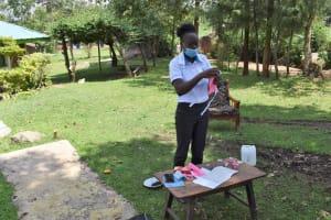 The Water Project: Sundulo B Community, Luvisia Spring -  Mask Making Demonstration