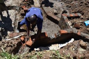 The Water Project: Shianda Community, Govet Lumbasi Spring -  Wall Construction