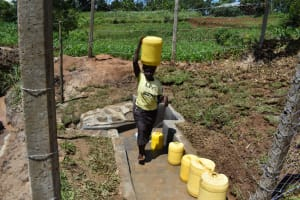 The Water Project: Shianda Community, Govet Lumbasi Spring -  Carrying Water Home