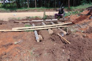 The Water Project: Jivuye Primary School -  Setting The Support Frames For The Latrine