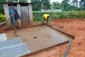 The Water Project: Jivuye Primary School -  Laying The Foundation Slab Of The Latrine