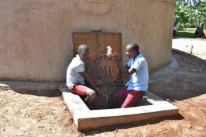 The Water Project: Jivuye Primary School -  Children Splashing Water