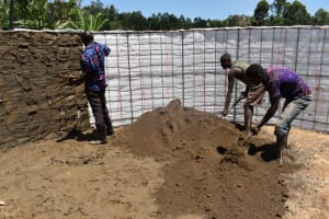 The Water Project: Bahati ADC Primary School -  First Plaster Layer