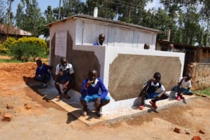 The Water Project: Itabalia Primary School -  Boys Line Up At Vip Ltrines