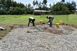 The Water Project: Salvation Army Matioli Secondary School -  Community Members Mix Concrete
