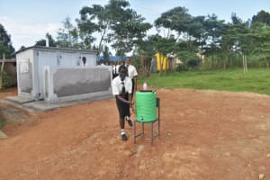 The Water Project: Salvation Army Matioli Secondary School -  Girls Washing By Vip Latrine