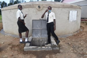The Water Project: Salvation Army Matioli Secondary School -  Students Showcasing Clean Water