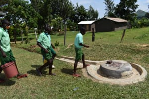 The Water Project: Mutoto Primary School -  Pupils Access Dug Well For Water