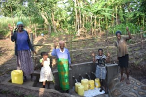 The Water Project: Eshimuli Community, Mbayi Spring -  Happy Beneficiaries Of Mbayi Spring