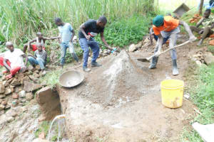 The Water Project: Eshimuli Community, Mbayi Spring -  Preparation Of Construction Materials