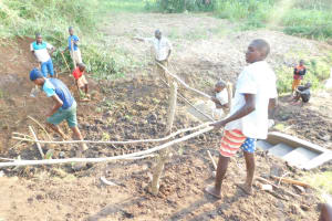 The Water Project: Mukhuyu Community, Namukuru Spring -  Setting Up Of A Protective Fence