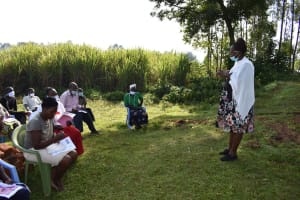 The Water Project: Mukhuyu Community, Namukuru Spring -  Trainer Jacky In Action